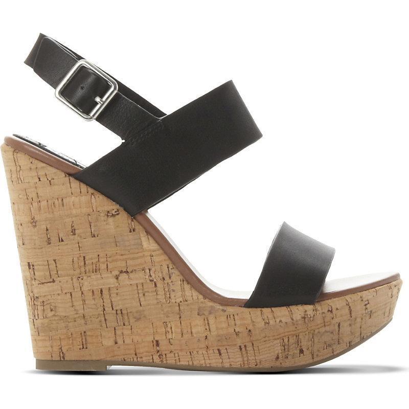 Esme Leather Wedge Sandals, Women's, Eur 40 / 7 Uk Women, Black Leather - predominant colour: black; occasions: casual; material: leather; heel: wedge; toe: open toe/peeptoe; style: standard; finish: plain; pattern: plain; heel height: very high; shoe detail: platform; season: a/w 2015