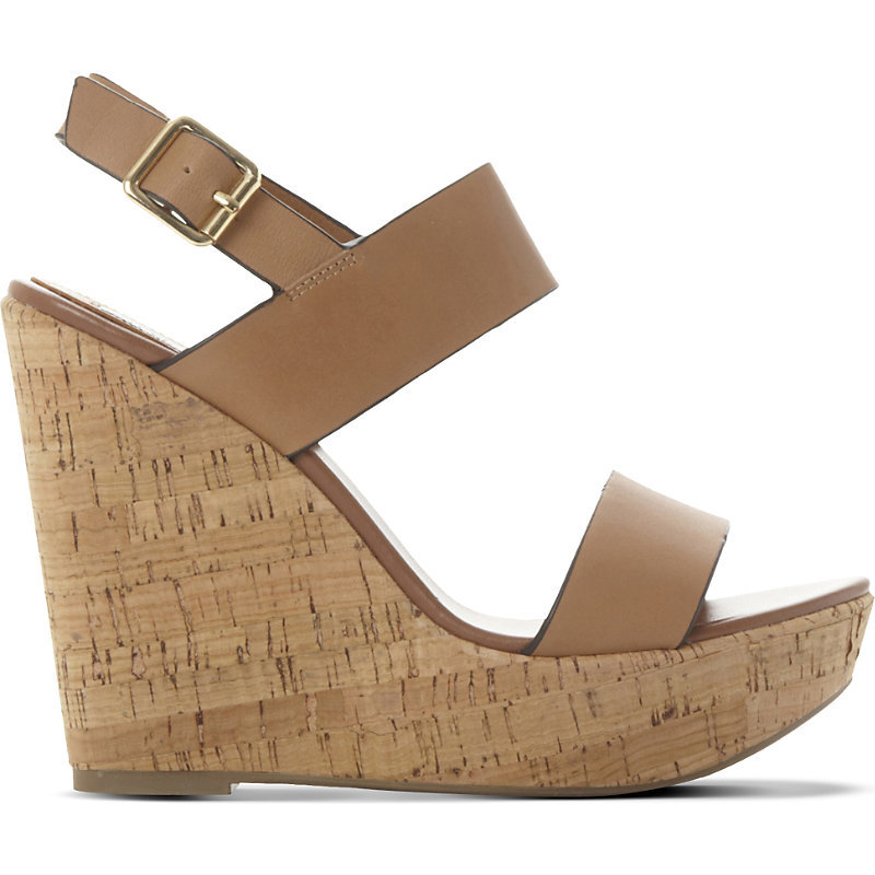 Esme Leather Wedge Sandals, Women's, Eur 41 / 8 Uk Women, Tan/Brown - predominant colour: tan; occasions: casual, holiday; material: leather; heel height: high; heel: wedge; toe: open toe/peeptoe; style: standard; finish: plain; pattern: plain; shoe detail: platform; season: a/w 2015; wardrobe: highlight