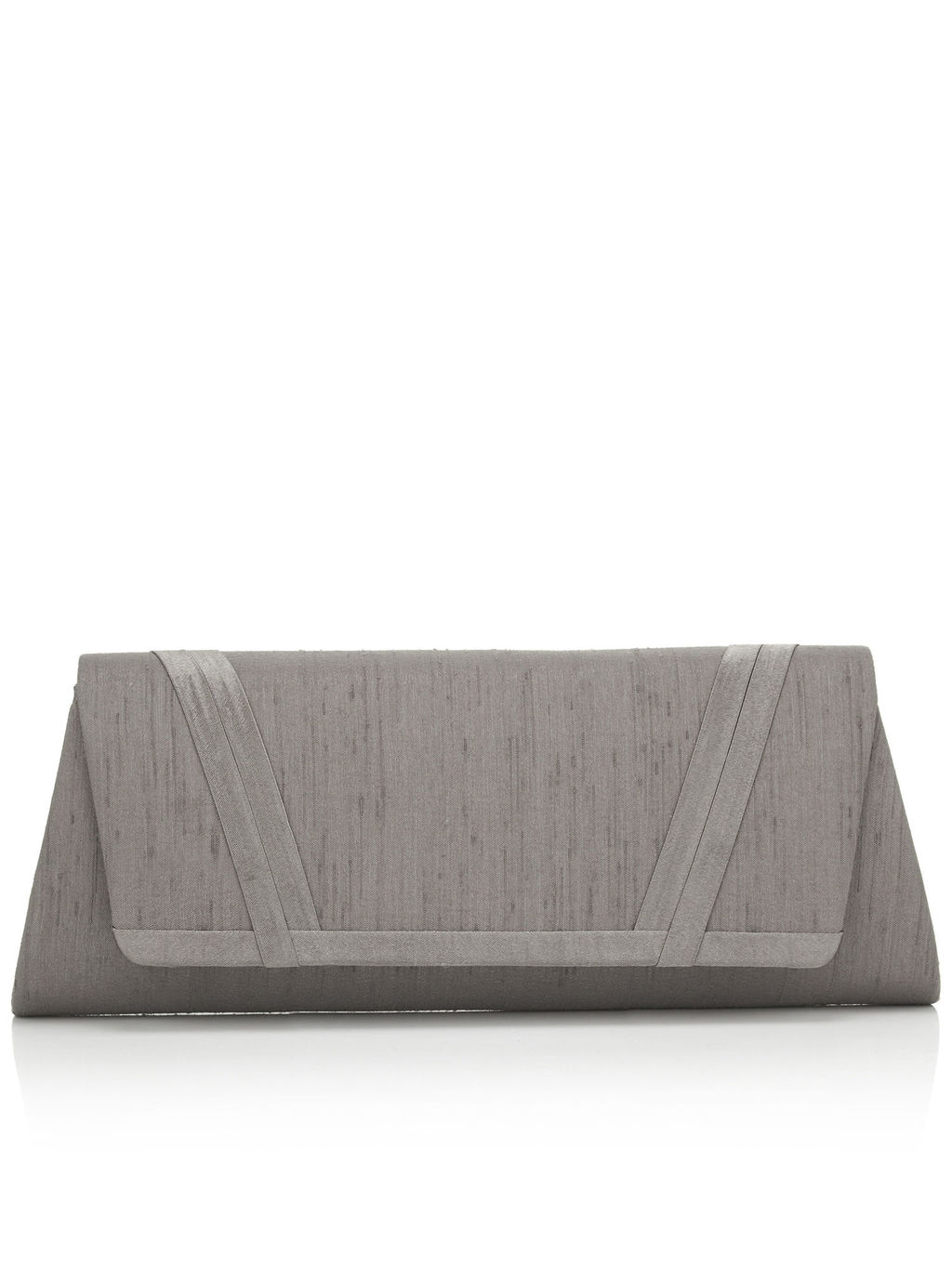 Double Pleat Point Bag - predominant colour: mid grey; occasions: evening, occasion; type of pattern: standard; style: clutch; length: hand carry; size: standard; material: fabric; pattern: plain; finish: plain; season: s/s 2016; wardrobe: event