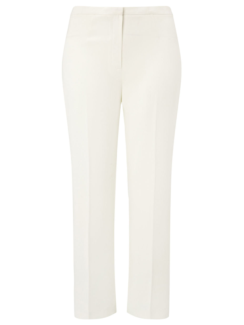 Straight Leg Trousers, Ivory - length: standard; pattern: plain; waist: mid/regular rise; predominant colour: white; fibres: polyester/polyamide - 100%; fit: slim leg; pattern type: fabric; texture group: other - light to midweight; style: standard; occasions: creative work; season: s/s 2016; wardrobe: basic