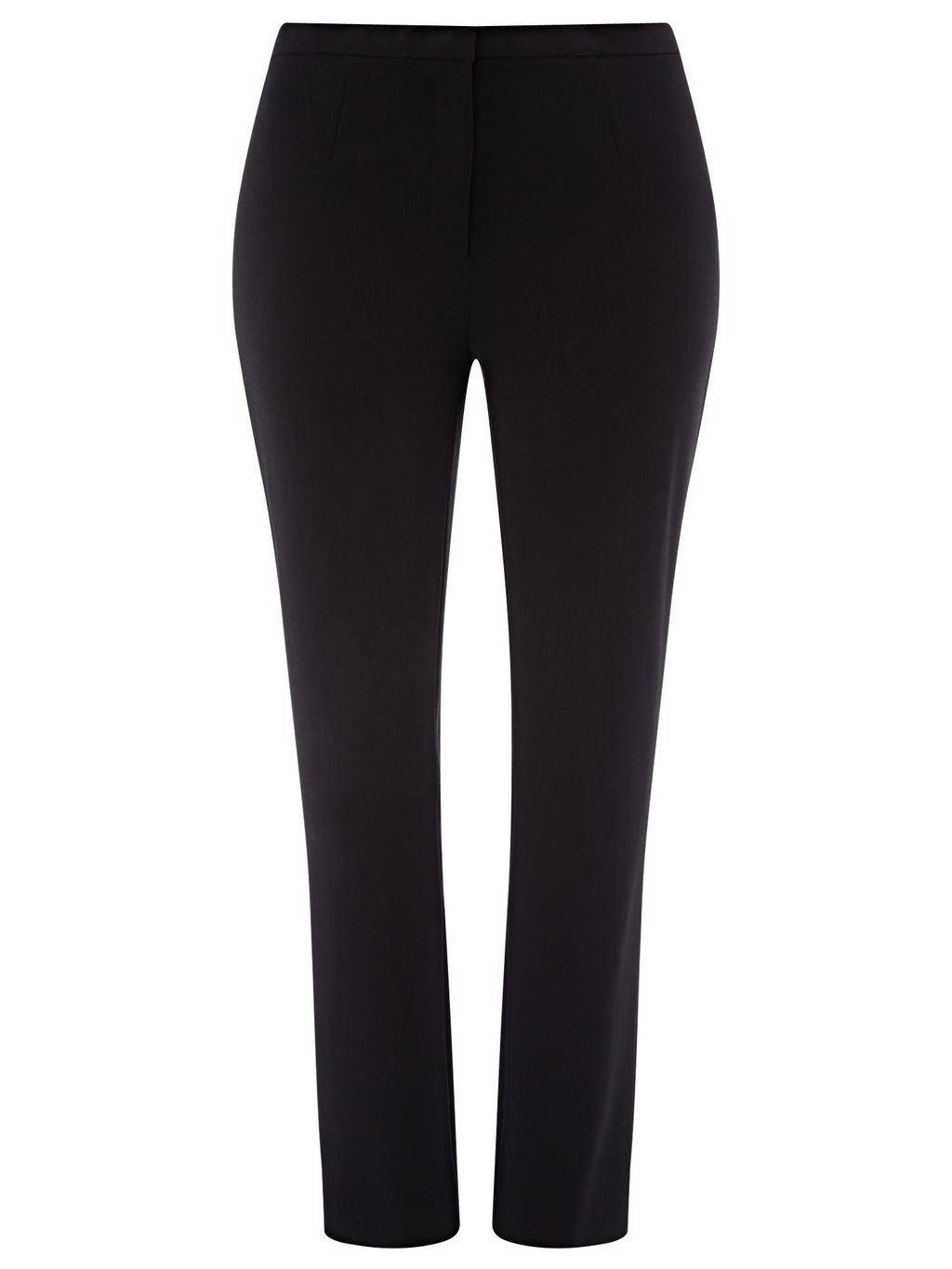 Slim Leg Tapered Trouser - length: standard; pattern: plain; waist: mid/regular rise; predominant colour: black; occasions: casual, work, creative work; fibres: polyester/polyamide - 100%; fit: slim leg; pattern type: fabric; texture group: woven light midweight; style: standard; season: s/s 2016; wardrobe: basic