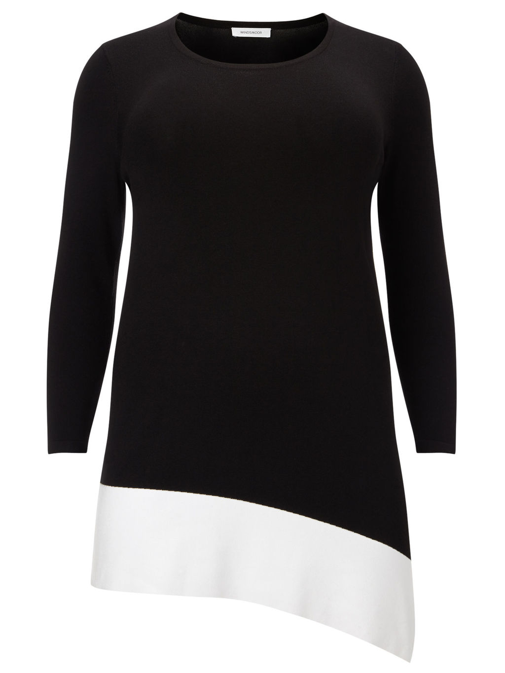 Colour Block Jumper, Black/White - length: below the bottom; style: standard; secondary colour: white; predominant colour: black; occasions: casual, creative work; fit: standard fit; neckline: crew; sleeve length: 3/4 length; sleeve style: standard; trends: monochrome; texture group: knits/crochet; pattern type: knitted - fine stitch; pattern size: standard; pattern: colourblock; fibres: viscose/rayon - mix; season: s/s 2016