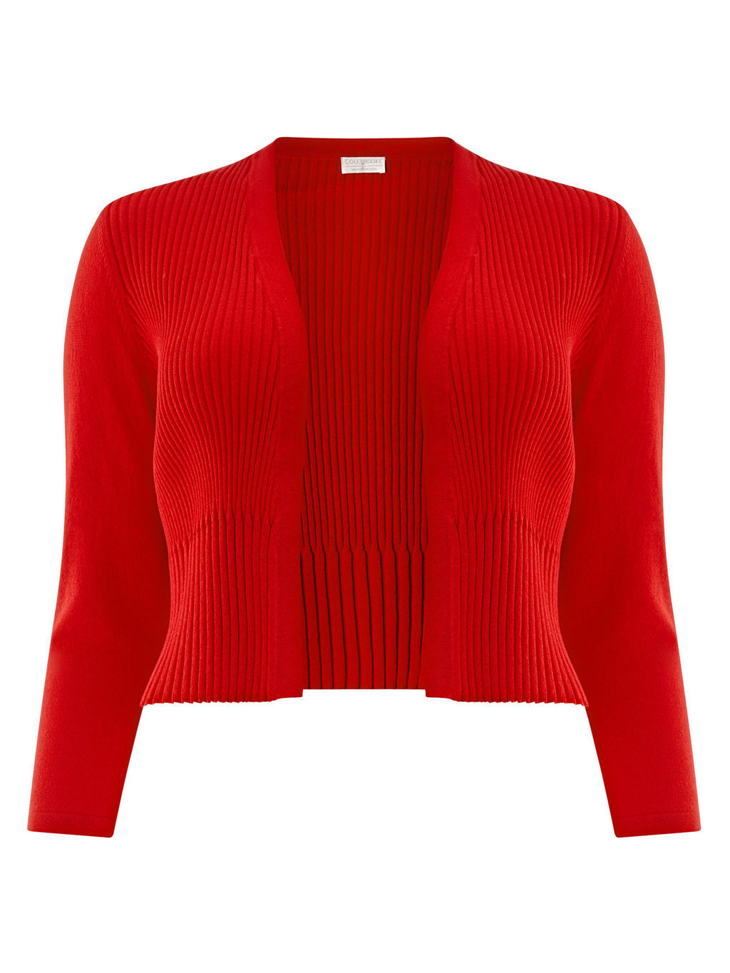 Pleated Shrug - pattern: plain; style: bolero/shrug; length: cropped; neckline: collarless open; predominant colour: true red; occasions: casual, creative work; fit: standard fit; sleeve length: 3/4 length; sleeve style: standard; texture group: knits/crochet; pattern type: knitted - fine stitch; fibres: viscose/rayon - mix; season: s/s 2016