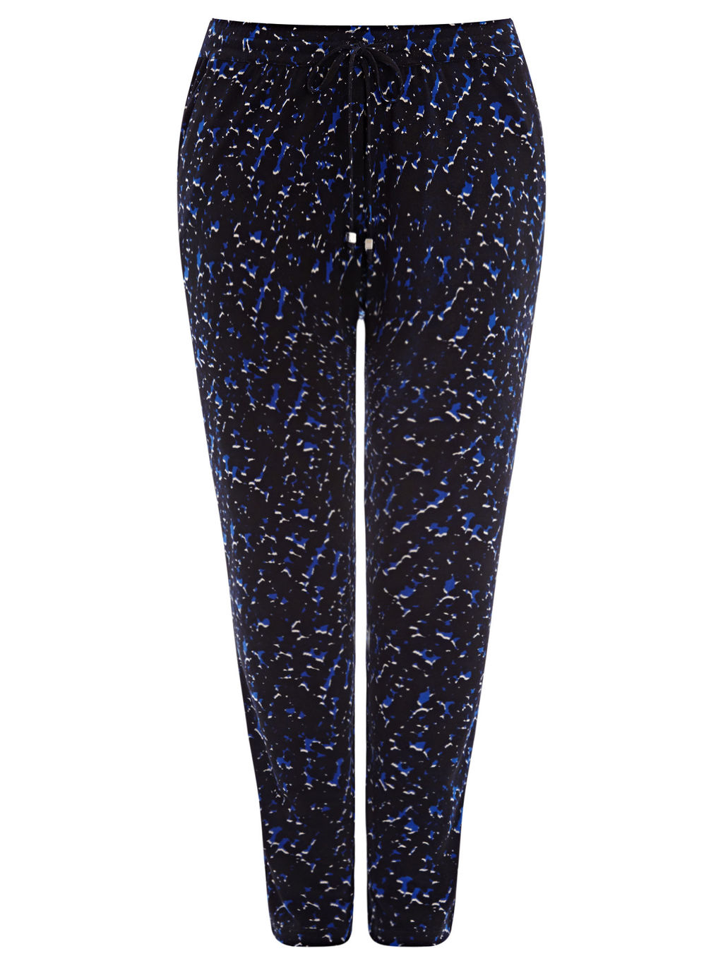 Abstract Print Jersey Trousers, Blue/Multi - length: standard; waist detail: belted waist/tie at waist/drawstring; waist: mid/regular rise; secondary colour: royal blue; predominant colour: black; occasions: casual, creative work; fibres: polyester/polyamide - stretch; fit: slim leg; pattern type: fabric; pattern: animal print; texture group: jersey - stretchy/drapey; style: standard; pattern size: standard (bottom); multicoloured: multicoloured; season: s/s 2016; wardrobe: highlight