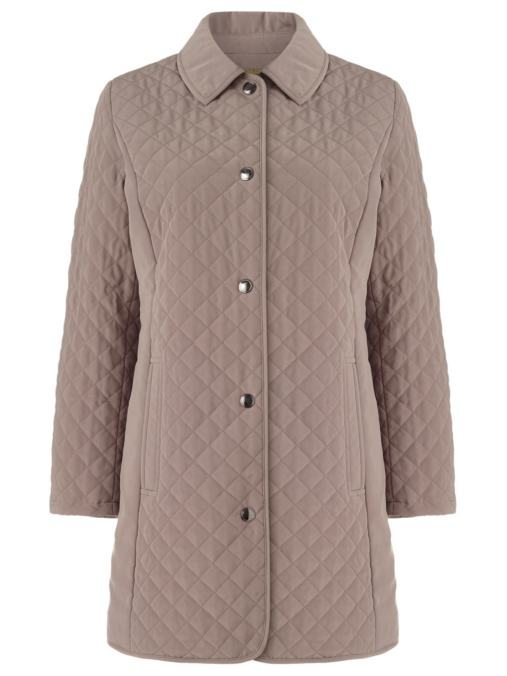 Longline Quilted Raincoat - pattern: plain; length: below the bottom; style: quilted; predominant colour: taupe; occasions: casual; fit: straight cut (boxy); fibres: polyester/polyamide - 100%; collar: shirt collar/peter pan/zip with opening; sleeve length: long sleeve; sleeve style: standard; collar break: high; pattern type: fabric; texture group: other - bulky/heavy; embellishment: quilted; season: s/s 2016; wardrobe: highlight