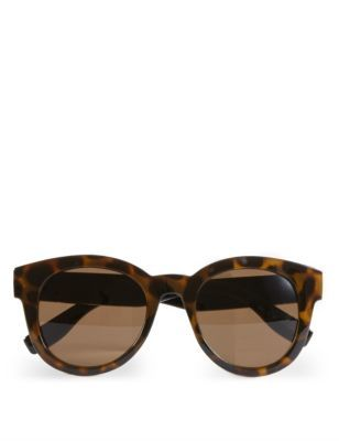 Round Sunglasses - predominant colour: chocolate brown; secondary colour: tan; occasions: casual, holiday; style: round; size: standard; material: plastic/rubber; pattern: tortoiseshell; finish: plain; season: s/s 2016