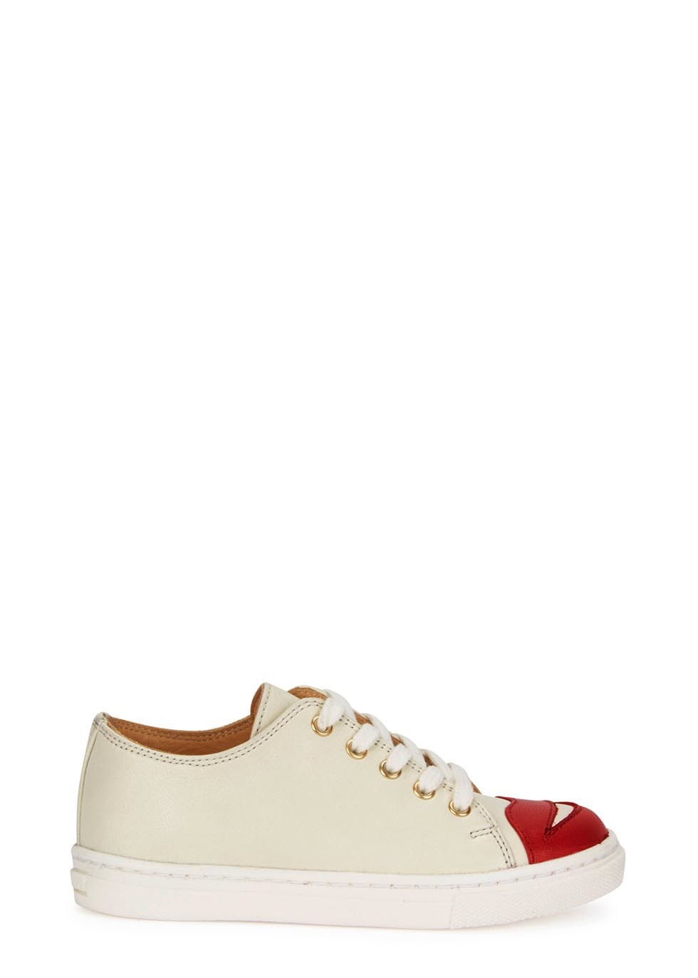 Kiss Me Off White Trainers 2 8 Years - predominant colour: ivory/cream; secondary colour: true red; occasions: casual; material: leather; heel height: flat; toe: round toe; style: trainers; finish: plain; pattern: colourblock; shoe detail: moulded soul; season: a/w 2015; wardrobe: highlight