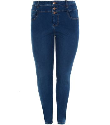 Curves Navy High Waisted Jeans - style: skinny leg; length: standard; pattern: plain; waist: high rise; pocket detail: traditional 5 pocket; predominant colour: navy; occasions: casual; fibres: cotton - stretch; jeans detail: dark wash; texture group: denim; pattern type: fabric; season: a/w 2015; wardrobe: basic