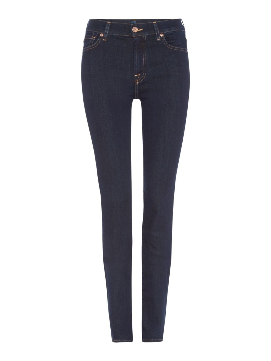 Rozie High Rise Skinny Jeans In Long Beach Dark, Denim Dark Wash - style: skinny leg; length: standard; pattern: plain; pocket detail: traditional 5 pocket; waist: mid/regular rise; predominant colour: navy; occasions: casual; fibres: cotton - stretch; jeans detail: dark wash; texture group: denim; pattern type: fabric; season: a/w 2015