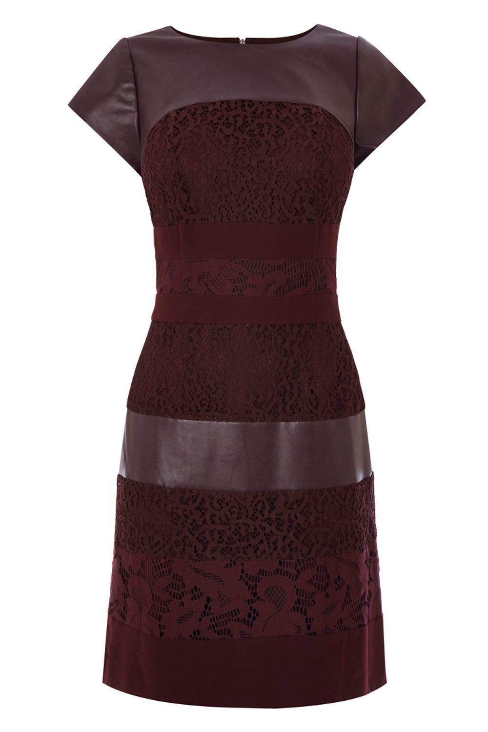 Loradi Lace Panel Dress, Wine - style: shift; neckline: round neck; sleeve style: capped; fit: tailored/fitted; pattern: plain; predominant colour: burgundy; occasions: evening, occasion; length: just above the knee; fibres: polyester/polyamide - 100%; sleeve length: short sleeve; pattern type: fabric; texture group: other - light to midweight; embellishment: lace; season: a/w 2015