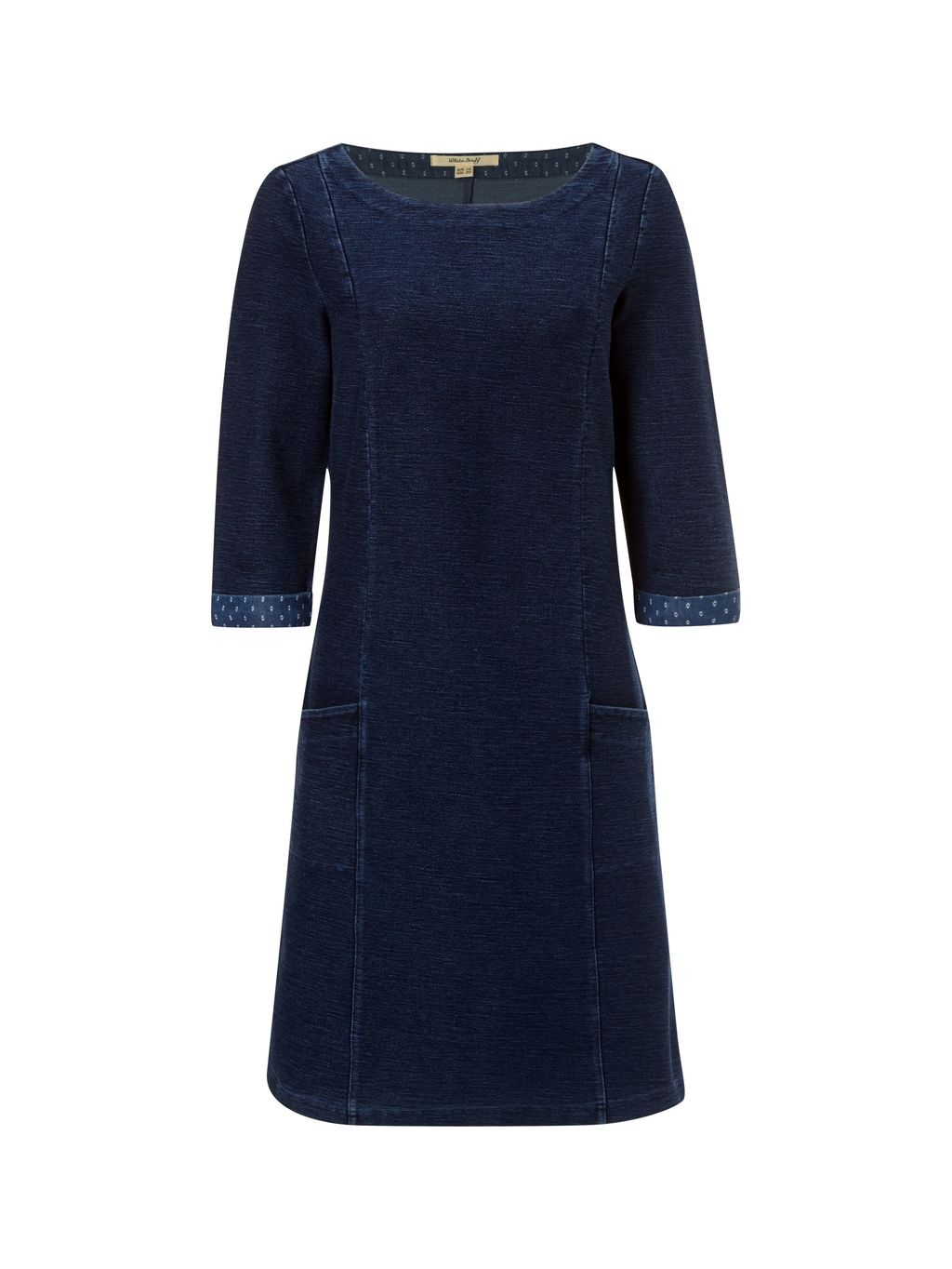 Kinley Jersey Dress, Denim - style: shift; length: below the knee; neckline: round neck; pattern: plain; predominant colour: navy; occasions: casual, creative work; fit: body skimming; fibres: cotton - stretch; sleeve length: 3/4 length; sleeve style: standard; pattern type: fabric; texture group: jersey - stretchy/drapey; season: a/w 2015