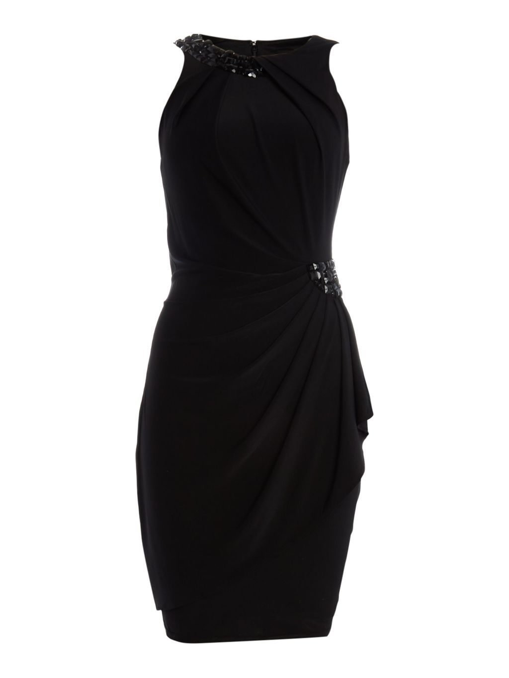 Jersey Dress With Beaded Halter Neck, Black - style: shift; neckline: round neck; fit: tailored/fitted; pattern: plain; sleeve style: sleeveless; predominant colour: black; occasions: evening; length: just above the knee; fibres: polyester/polyamide - stretch; sleeve length: sleeveless; pattern type: fabric; texture group: other - light to midweight; season: a/w 2015