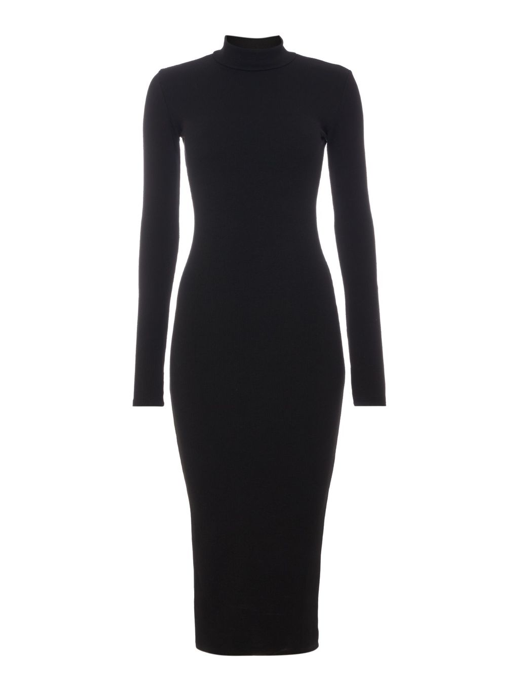 Long Sleeved High Neck Bodycon Mini Dress, Black - length: below the knee; fit: tight; pattern: plain; neckline: high neck; style: bodycon; predominant colour: black; occasions: evening; fibres: polyester/polyamide - stretch; sleeve length: long sleeve; sleeve style: standard; texture group: jersey - clingy; pattern type: fabric; season: a/w 2015; wardrobe: event