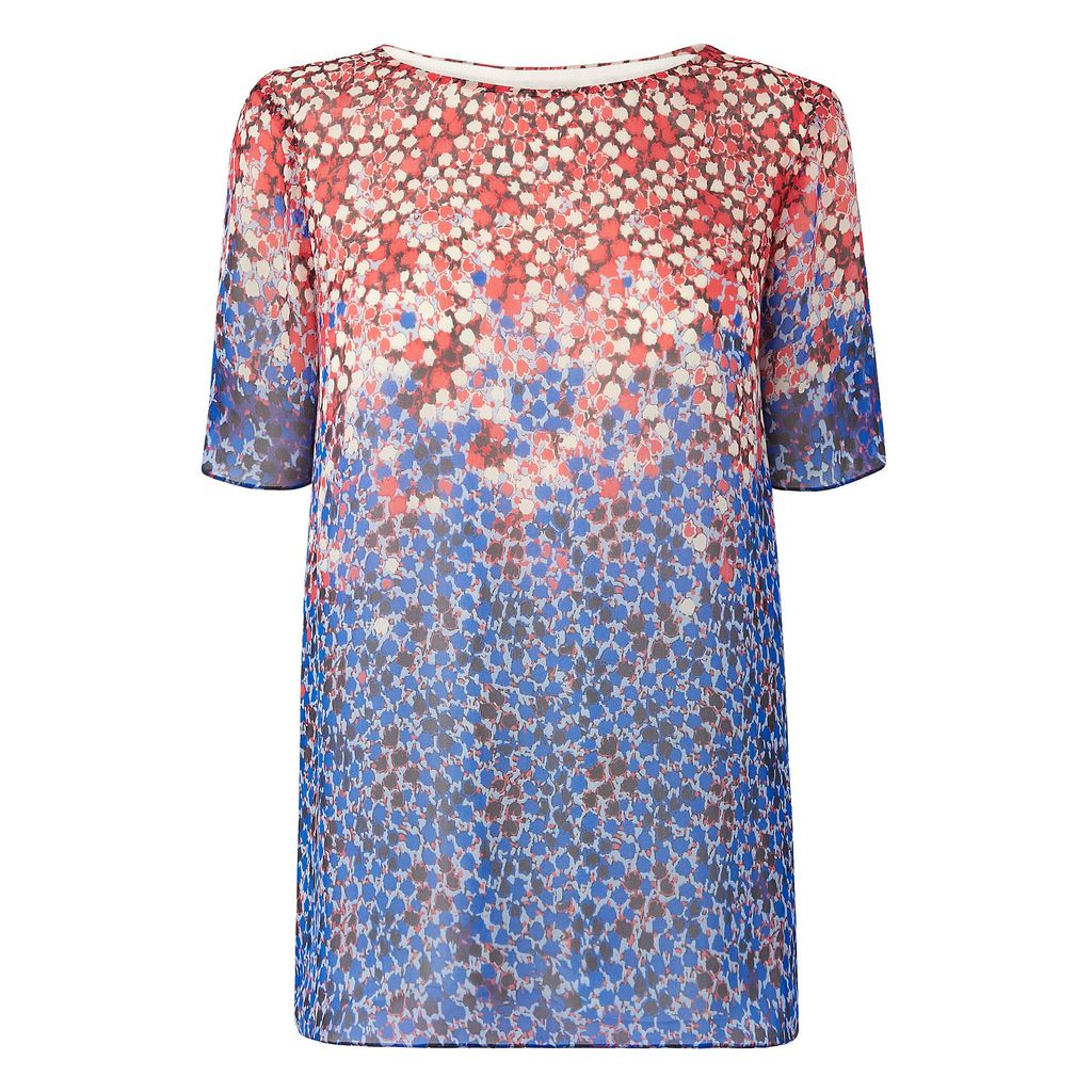 Dot Top, Blue - neckline: slash/boat neckline; length: below the bottom; style: blouse; predominant colour: royal blue; secondary colour: coral; occasions: casual, creative work; fibres: viscose/rayon - stretch; fit: straight cut; sleeve length: short sleeve; sleeve style: standard; texture group: crepes; pattern type: fabric; pattern size: light/subtle; pattern: patterned/print; multicoloured: multicoloured; season: a/w 2015; wardrobe: highlight