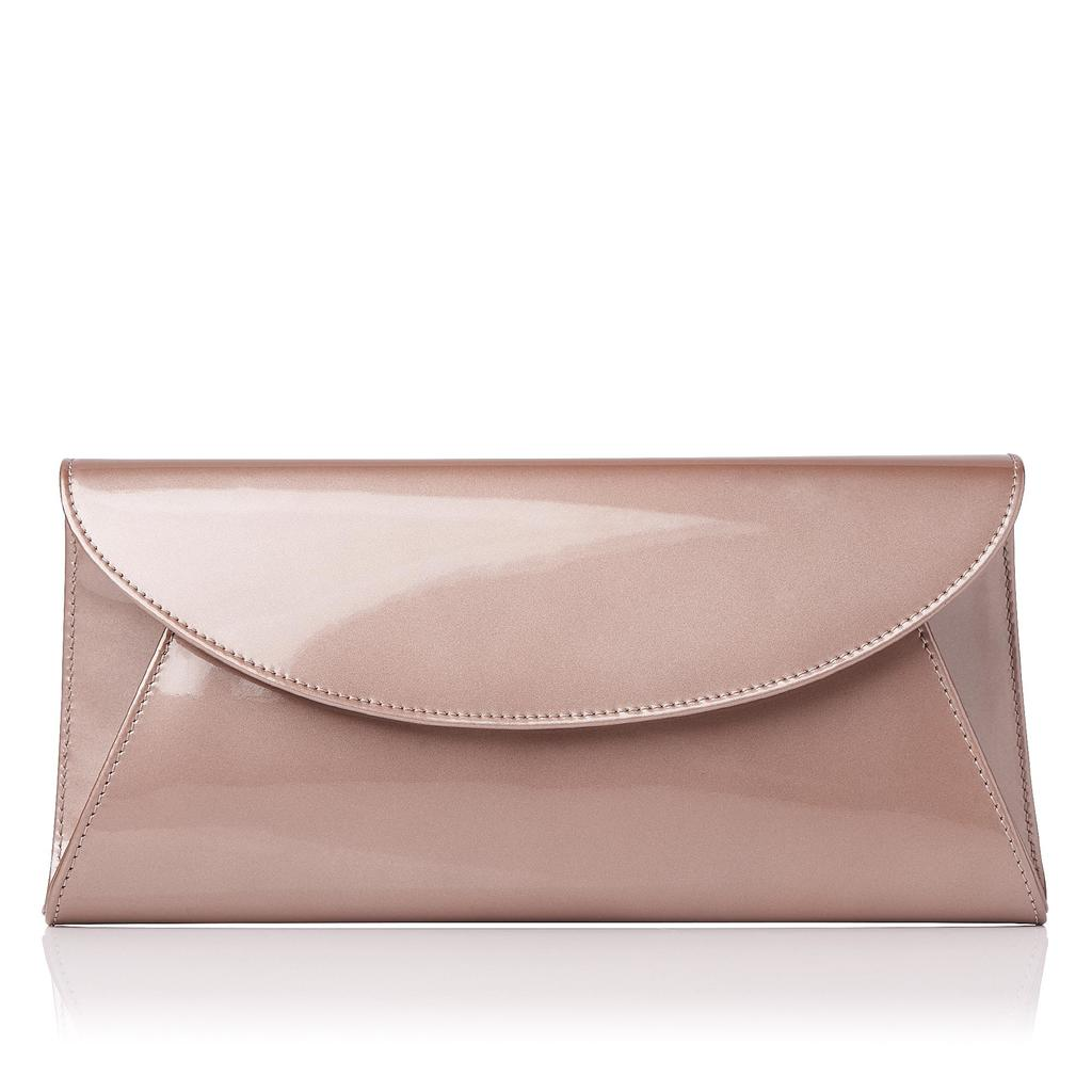 Flo Pearlised Leather Clutch Metallic Champagne - predominant colour: blush; occasions: evening; type of pattern: standard; style: clutch; length: hand carry; size: small; material: leather; pattern: plain; finish: patent; season: a/w 2015; wardrobe: event