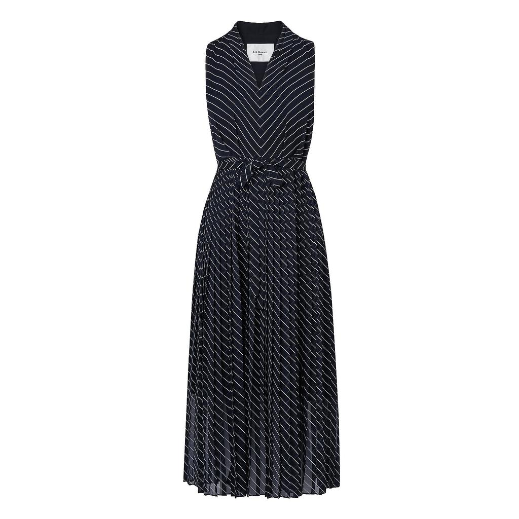Lora Pleated Navy Full Midi Dress Blue Sloane Blue - length: below the knee; neckline: v-neck; sleeve style: sleeveless; predominant colour: navy; secondary colour: light grey; fit: fitted at waist & bust; style: fit & flare; fibres: polyester/polyamide - 100%; occasions: occasion; sleeve length: sleeveless; texture group: sheer fabrics/chiffon/organza etc.; pattern type: fabric; pattern: patterned/print; season: a/w 2015