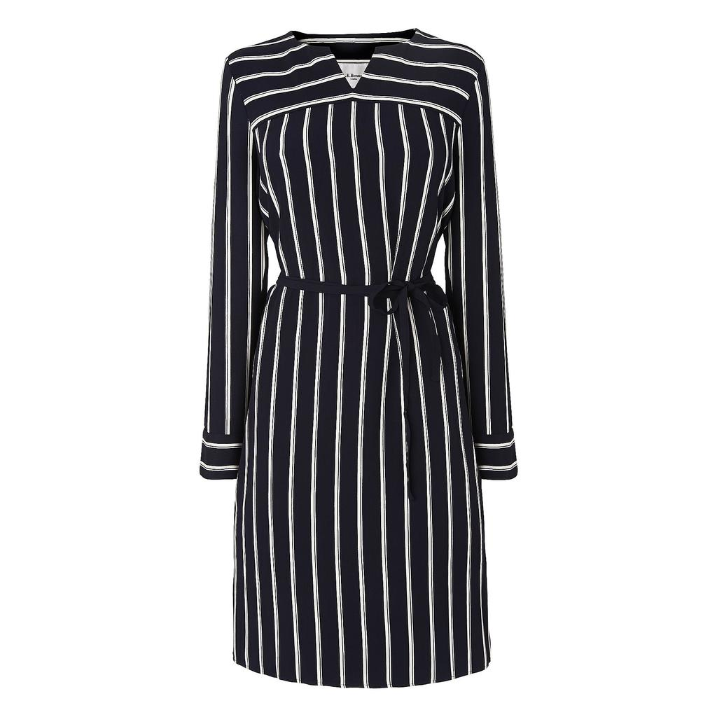 Mabel Striped Navy Shirt Dress Blue Sloane Blue - style: shirt; neckline: v-neck; fit: tailored/fitted; pattern: striped; waist detail: belted waist/tie at waist/drawstring; secondary colour: white; predominant colour: black; length: on the knee; fibres: silk - mix; sleeve length: long sleeve; sleeve style: standard; pattern type: fabric; pattern size: standard; texture group: woven light midweight; occasions: creative work; season: a/w 2015
