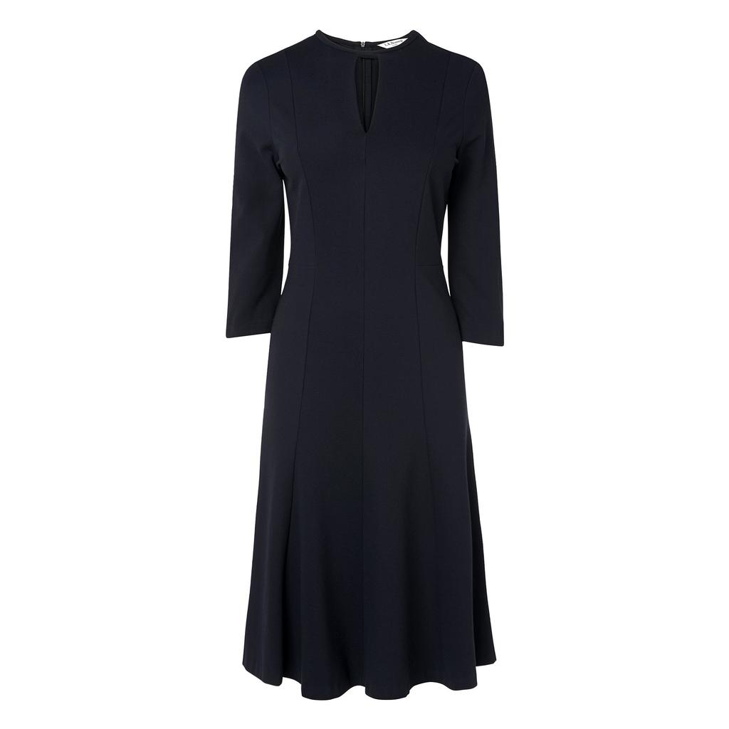 Salome Navy Full Midi Dress Blue Sloane Blue - length: calf length; pattern: plain; predominant colour: navy; fit: fitted at waist & bust; style: fit & flare; neckline: peep hole neckline; fibres: polyester/polyamide - 100%; occasions: occasion; hip detail: subtle/flattering hip detail; sleeve length: 3/4 length; sleeve style: standard; texture group: crepes; pattern type: fabric; season: a/w 2015; wardrobe: event