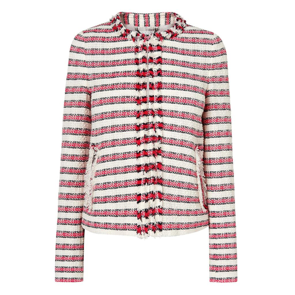 Tallula Pink Tweed Jacket - collar: round collar/collarless; style: boxy; pattern: herringbone/tweed; secondary colour: ivory/cream; predominant colour: true red; length: standard; fit: straight cut (boxy); fibres: cotton - mix; sleeve length: long sleeve; sleeve style: standard; collar break: high; pattern type: fabric; texture group: tweed - light/midweight; occasions: creative work; multicoloured: multicoloured; season: a/w 2015; wardrobe: highlight; embellishment location: bust