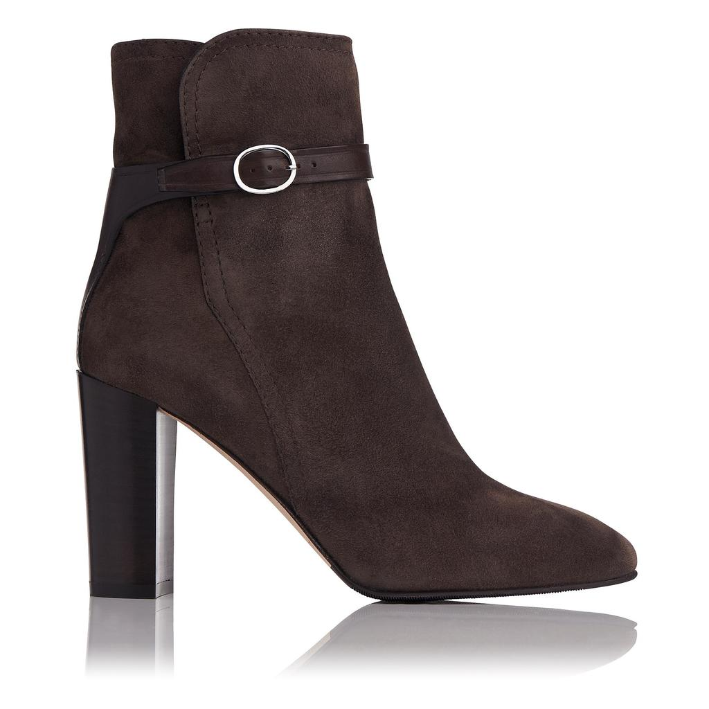 Kiely Brown Leather Ankle Boots - predominant colour: charcoal; occasions: casual, creative work; material: suede; heel: block; toe: pointed toe; boot length: ankle boot; style: standard; finish: plain; pattern: plain; heel height: very high; season: a/w 2015; wardrobe: highlight