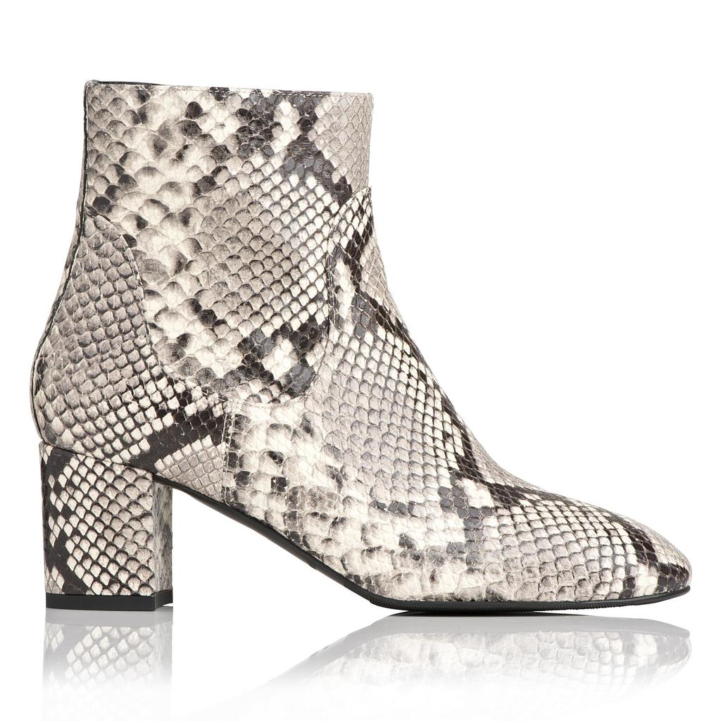 Simi Snake Effect Ankle Boots - secondary colour: white; predominant colour: black; material: leather; heel height: mid; heel: block; toe: round toe; boot length: ankle boot; style: standard; trends: monochrome; finish: plain; pattern: animal print; occasions: creative work; season: a/w 2015; wardrobe: highlight