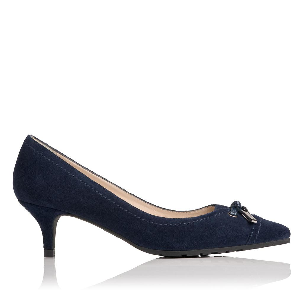 Clara Navy Leather Courts Blue Denim - predominant colour: navy; occasions: work, creative work; material: leather; heel height: mid; heel: kitten; toe: pointed toe; style: courts; finish: plain; pattern: plain; embellishment: bow; season: a/w 2015; wardrobe: investment