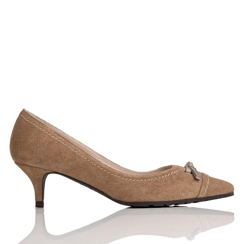 Clara Brown Leather Courts - predominant colour: camel; occasions: evening, work, creative work; material: suede; heel height: mid; heel: kitten; toe: pointed toe; style: courts; finish: plain; pattern: plain; season: a/w 2015; wardrobe: investment