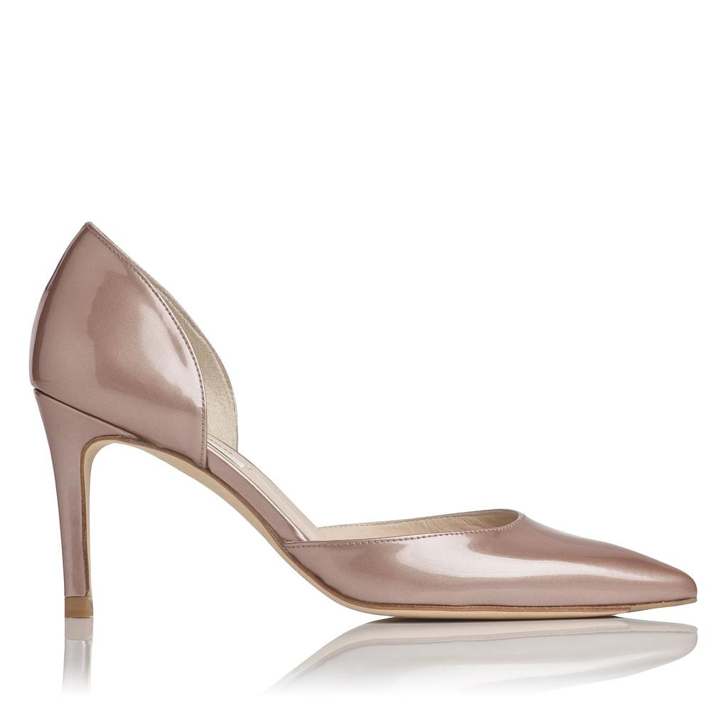 Flossie Champagne Patent Courts - predominant colour: blush; occasions: evening, occasion; material: leather; heel height: high; heel: stiletto; toe: pointed toe; style: courts; finish: metallic; pattern: plain; season: a/w 2015; wardrobe: event