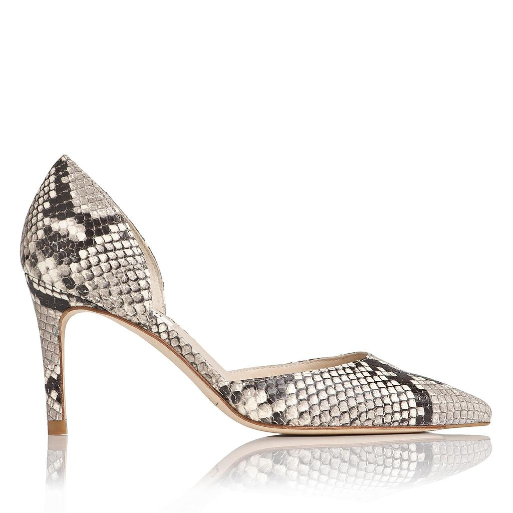 Flossie Snake Leather Courts Animal Natural - predominant colour: light grey; occasions: evening, occasion; material: leather; heel: stiletto; toe: pointed toe; style: courts; finish: plain; pattern: animal print; heel height: very high; season: a/w 2015; wardrobe: event