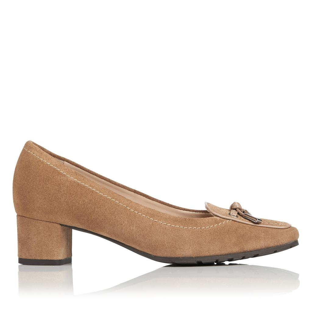 Marion Suede Block Heels Brown Fudge - predominant colour: tan; occasions: work, creative work; material: suede; heel height: mid; embellishment: snaffles; heel: block; toe: round toe; style: courts; finish: plain; pattern: plain; season: a/w 2015