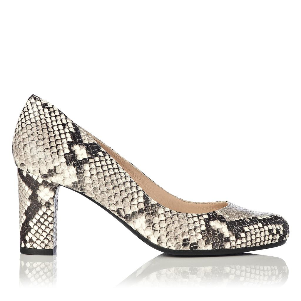 Sersha Taupe Block Heel Courts Animal Natural - predominant colour: charcoal; occasions: evening, occasion, creative work; material: faux leather; heel height: high; heel: block; toe: round toe; style: courts; finish: plain; pattern: animal print; season: a/w 2015
