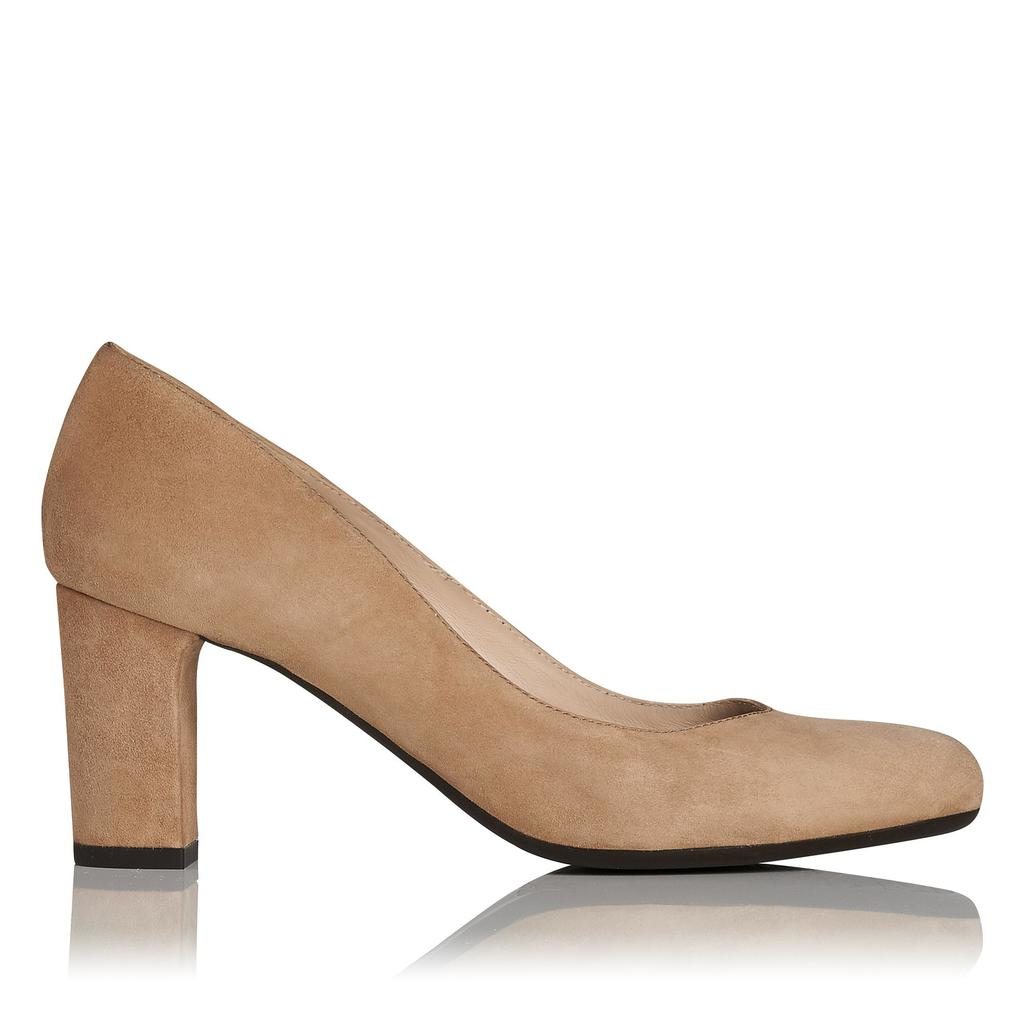 Sersha Brown Suede Block Heel Courts Brown Fudge - predominant colour: camel; occasions: work, creative work; material: suede; heel height: mid; heel: block; toe: round toe; style: courts; finish: plain; pattern: plain; season: a/w 2015
