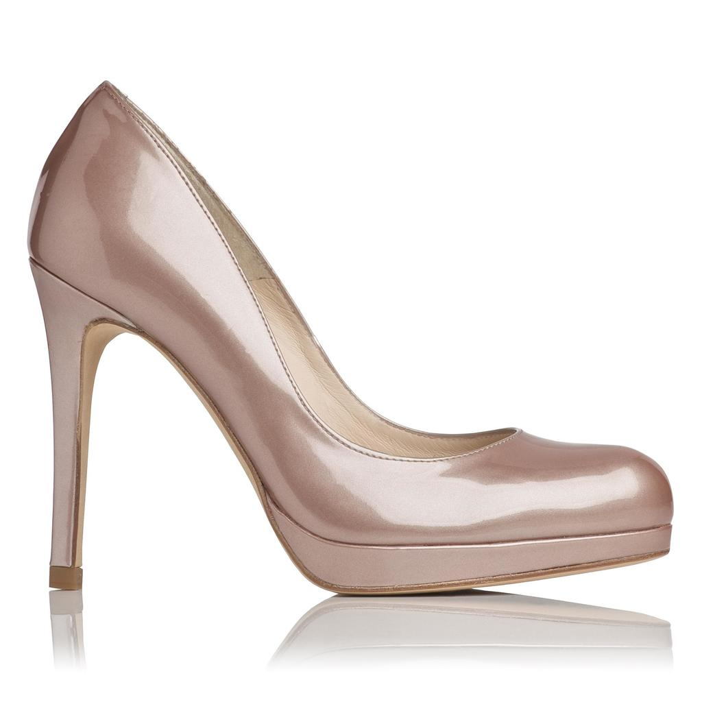 Sledge Pearlised Patent Platform Courts Metallic Champagne - predominant colour: champagne; occasions: evening, occasion; material: leather; heel: stiletto; toe: round toe; style: courts; finish: patent; pattern: plain; heel height: very high; shoe detail: platform; season: a/w 2015; wardrobe: event