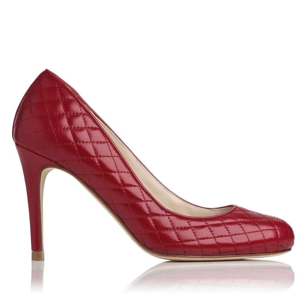 Stila Red Quilted Leather Courts Red Dark Red - predominant colour: true red; occasions: evening, occasion; material: leather; embellishment: quilted; heel: stiletto; toe: round toe; style: courts; finish: plain; pattern: plain; heel height: very high; season: a/w 2015; wardrobe: event
