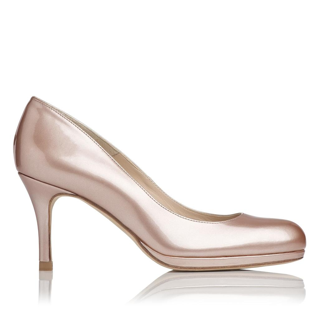 Sybila Patent Leather Platform Court Metallic Champagne - predominant colour: champagne; occasions: evening, occasion; material: leather; heel height: high; heel: stiletto; toe: round toe; style: courts; finish: patent; pattern: plain; shoe detail: platform; season: a/w 2015; wardrobe: event