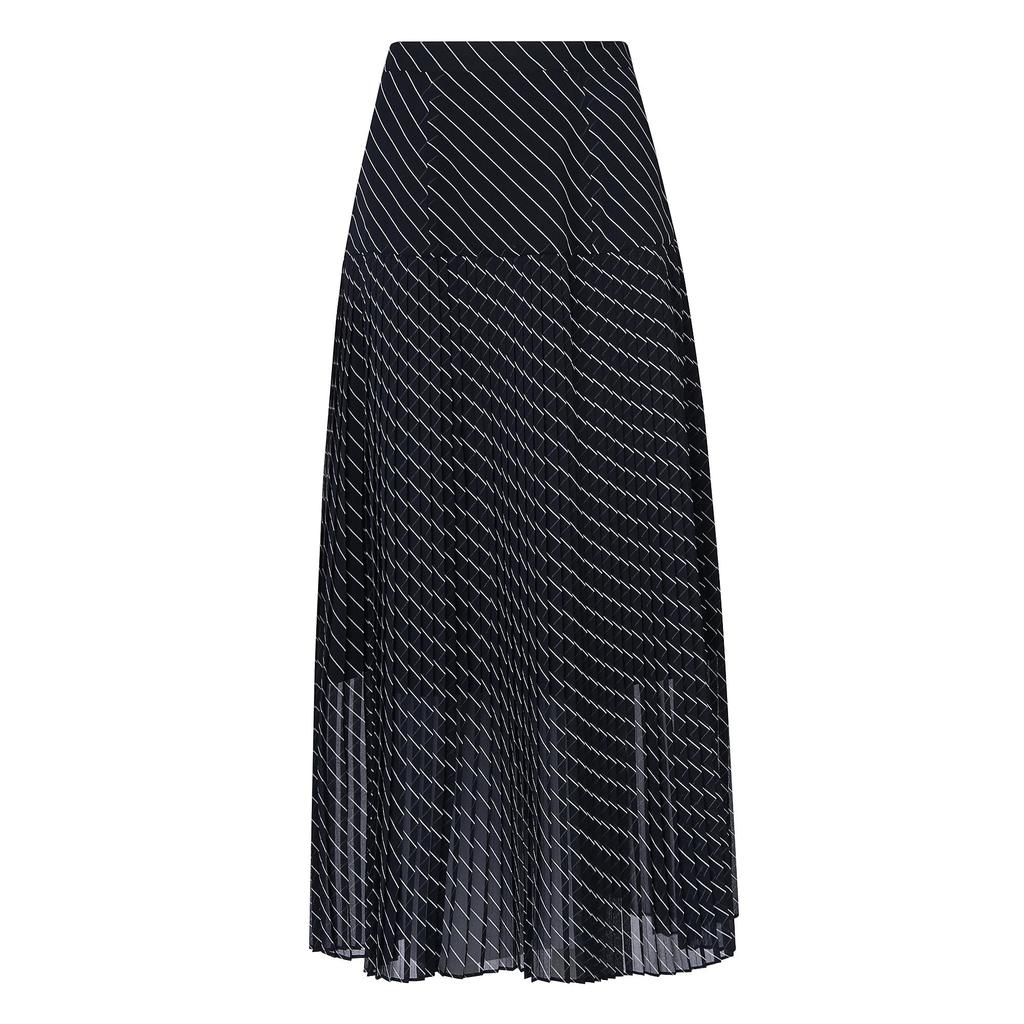Lora Pleated Navy Full Midi Skirt Blue Sloane Blue - length: calf length; pattern: striped; style: full/prom skirt; fit: loose/voluminous; waist: high rise; secondary colour: white; predominant colour: navy; fibres: polyester/polyamide - 100%; occasions: occasion; hip detail: structured pleats at hip; texture group: sheer fabrics/chiffon/organza etc.; pattern type: fabric; pattern size: standard (bottom); season: a/w 2015; wardrobe: event