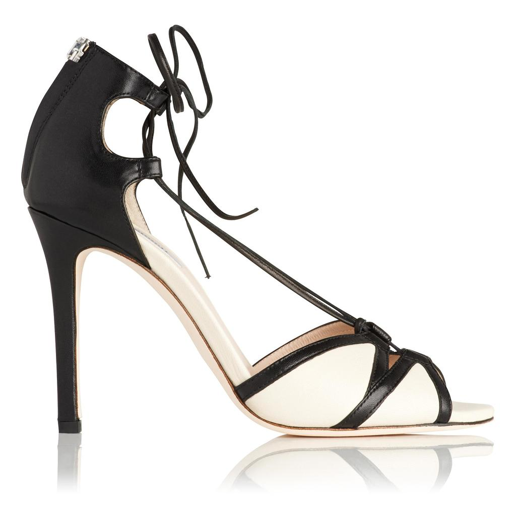 Adriana Leather Sandals - predominant colour: ivory/cream; secondary colour: black; occasions: evening, occasion; material: leather; ankle detail: ankle tie; heel: stiletto; toe: open toe/peeptoe; style: courts; finish: plain; pattern: colourblock; heel height: very high; season: a/w 2015; wardrobe: event