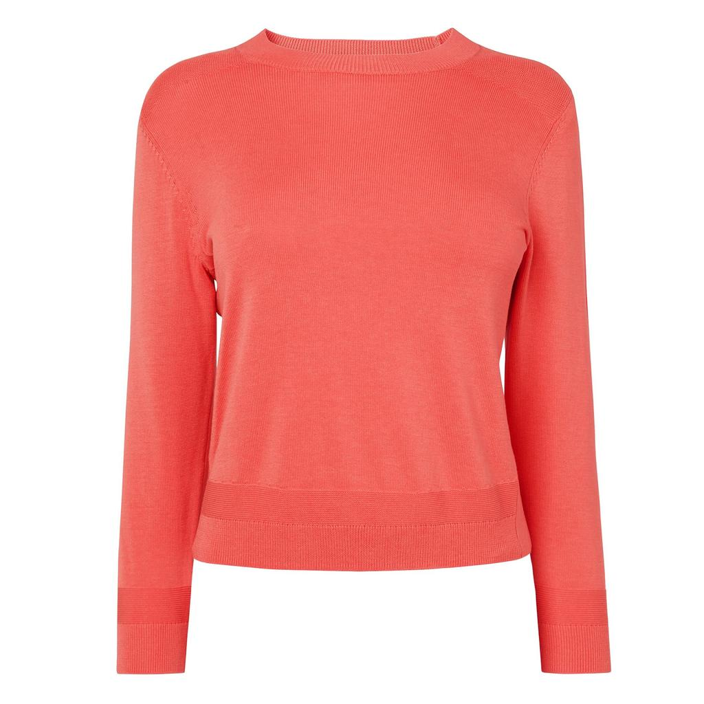 Maisy Pink Knitted Jumper Pink Flamingo - pattern: plain; predominant colour: coral; occasions: casual; length: standard; style: top; fibres: silk - mix; fit: body skimming; neckline: crew; sleeve length: long sleeve; sleeve style: standard; texture group: knits/crochet; pattern type: fabric; season: a/w 2015