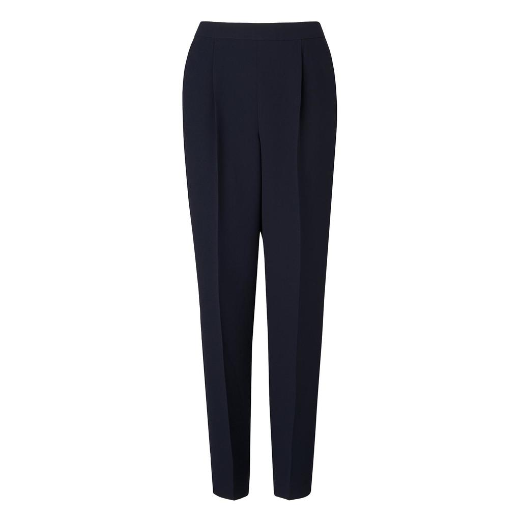 Marcia Navy Trousers Blue Sloane Blue - pattern: plain; style: peg leg; waist: mid/regular rise; predominant colour: navy; occasions: work; length: ankle length; fibres: polyester/polyamide - 100%; fit: tapered; pattern type: fabric; texture group: other - light to midweight; season: a/w 2015; wardrobe: basic