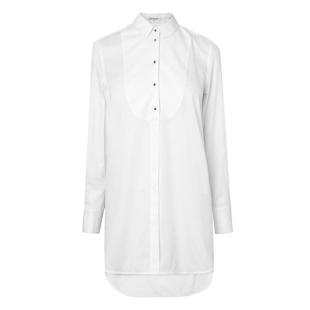 Rene Contrast Bib Shirt White Snow White - neckline: shirt collar/peter pan/zip with opening; pattern: plain; length: below the bottom; style: shirt; predominant colour: white; occasions: casual; fibres: cotton - 100%; fit: body skimming; sleeve length: long sleeve; sleeve style: standard; texture group: cotton feel fabrics; pattern type: fabric; season: a/w 2015; wardrobe: basic; embellishment location: bust