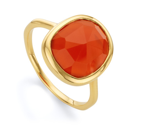Gold Siren Medium Stacking Ring Orange Carnelian - predominant colour: coral; secondary colour: gold; occasions: evening, occasion; style: cocktail; size: large/oversized; material: chain/metal; finish: metallic; embellishment: jewels/stone; season: a/w 2015; wardrobe: event
