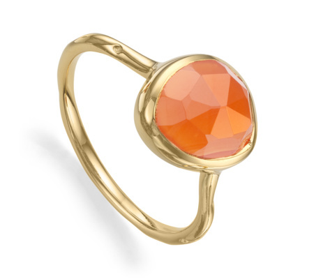 Gold Siren Stacking Ring Orange Carnelian - predominant colour: coral; secondary colour: gold; occasions: evening, occasion; style: cocktail; size: small/fine; material: chain/metal; finish: metallic; embellishment: jewels/stone; season: a/w 2015; wardrobe: event