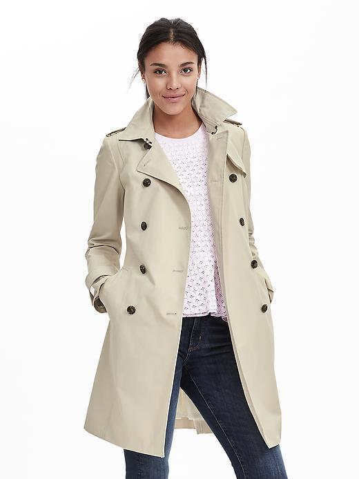 Classic Trench Fall Khaki - pattern: plain; style: trench coat; length: mid thigh; predominant colour: ivory/cream; occasions: casual, work, creative work; fit: tailored/fitted; fibres: cotton - 100%; collar: shirt collar/peter pan/zip with opening; sleeve length: long sleeve; sleeve style: standard; texture group: cotton feel fabrics; collar break: high/illusion of break when open; pattern type: fabric; season: a/w 2015; wardrobe: basic