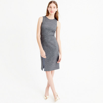 Tall Herringbone Sheath Dress - style: shift; fit: tailored/fitted; pattern: plain; sleeve style: sleeveless; waist detail: fitted waist; predominant colour: mid grey; occasions: work; length: just above the knee; fibres: wool - mix; neckline: crew; sleeve length: sleeveless; pattern type: fabric; texture group: other - light to midweight; season: a/w 2015; wardrobe: investment