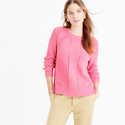Wool Blend Pointelle Cable Sweater - pattern: plain; style: standard; predominant colour: pink; occasions: casual, creative work; length: standard; fibres: wool - mix; fit: standard fit; neckline: crew; sleeve length: long sleeve; sleeve style: standard; texture group: knits/crochet; pattern type: knitted - other; pattern size: standard; season: a/w 2015