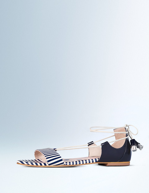 Sienna Sandal Navy & Ivory Stripe Women, Navy & Ivory Stripe - predominant colour: navy; occasions: casual, holiday, creative work; material: leather; heel height: flat; ankle detail: ankle tie; heel: block; toe: open toe/peeptoe; style: strappy; finish: plain; pattern: striped; season: a/w 2015; wardrobe: highlight