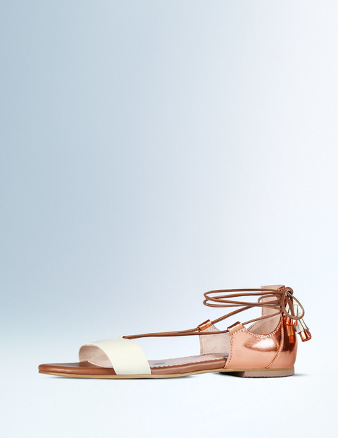 Sienna Sandal Ivory/Rose Gold Metallic Women, Ivory/Rose Gold Metallic - predominant colour: gold; occasions: casual, holiday, creative work; material: leather; heel height: flat; ankle detail: ankle tie; heel: block; toe: open toe/peeptoe; style: strappy; finish: plain; pattern: plain; season: a/w 2015; wardrobe: basic