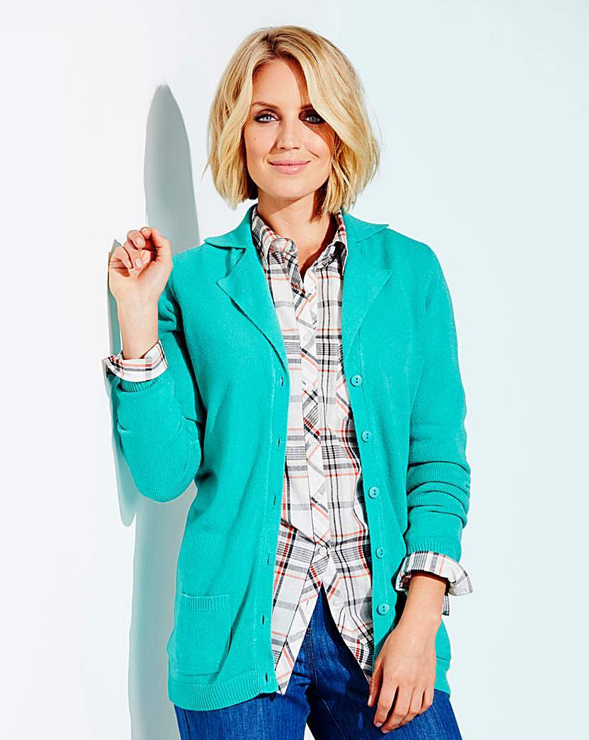 Super Soft Collar And Rever Cardigan - neckline: v-neck; pattern: plain; length: below the bottom; style: open front; predominant colour: turquoise; occasions: casual, creative work; fit: standard fit; fibres: cashmere - 100%; sleeve length: long sleeve; sleeve style: standard; texture group: knits/crochet; pattern type: knitted - fine stitch; season: a/w 2015; wardrobe: highlight