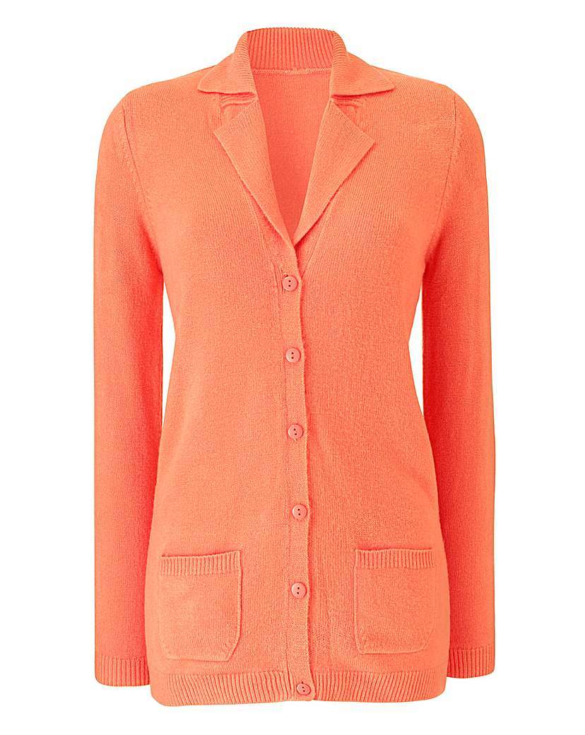 Super Soft Collar And Rever Cardigan - neckline: v-neck; pattern: plain; length: below the bottom; predominant colour: coral; occasions: casual, creative work; style: standard; fit: standard fit; fibres: cashmere - 100%; sleeve length: long sleeve; sleeve style: standard; texture group: knits/crochet; pattern type: knitted - fine stitch; season: a/w 2015; wardrobe: highlight