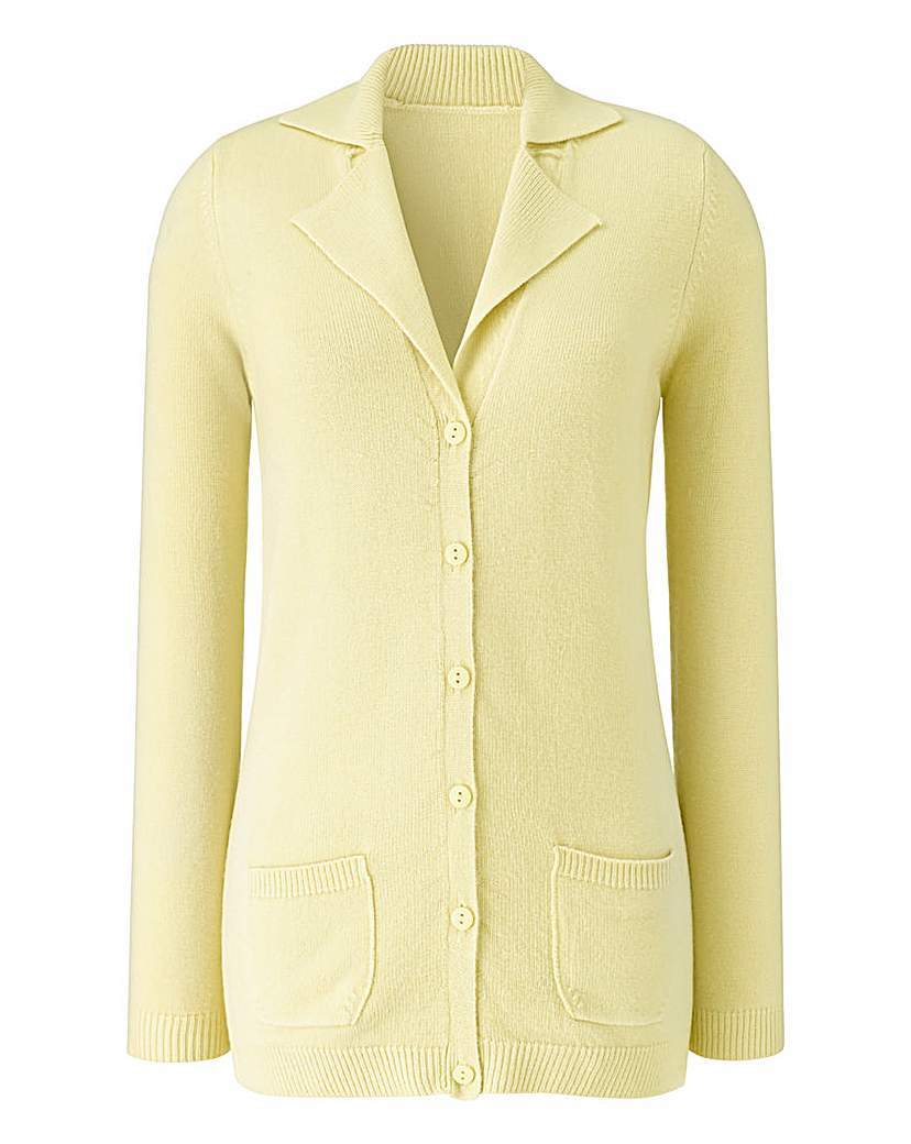 Super Soft Collar And Rever Cardigan - neckline: v-neck; pattern: plain; length: below the bottom; predominant colour: primrose yellow; occasions: casual, creative work; style: standard; fit: standard fit; fibres: cashmere - 100%; sleeve length: long sleeve; sleeve style: standard; texture group: knits/crochet; pattern type: knitted - fine stitch; season: a/w 2015; wardrobe: highlight